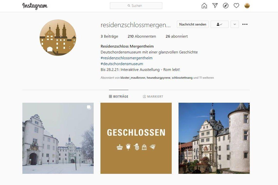 Residenzschloss Mergentheim, Instagramseite