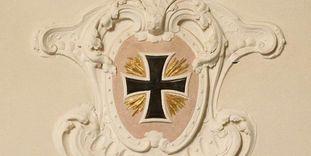 Residenzschloss Mergentheim, Wappen des Deutschen Ordens, Wappenkartusche in der Schlosskirche