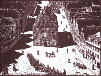 Residenzschloss Mergentheim, Historische Ansicht des Marktplatzes Mergentheim von Hermann Fechenbach