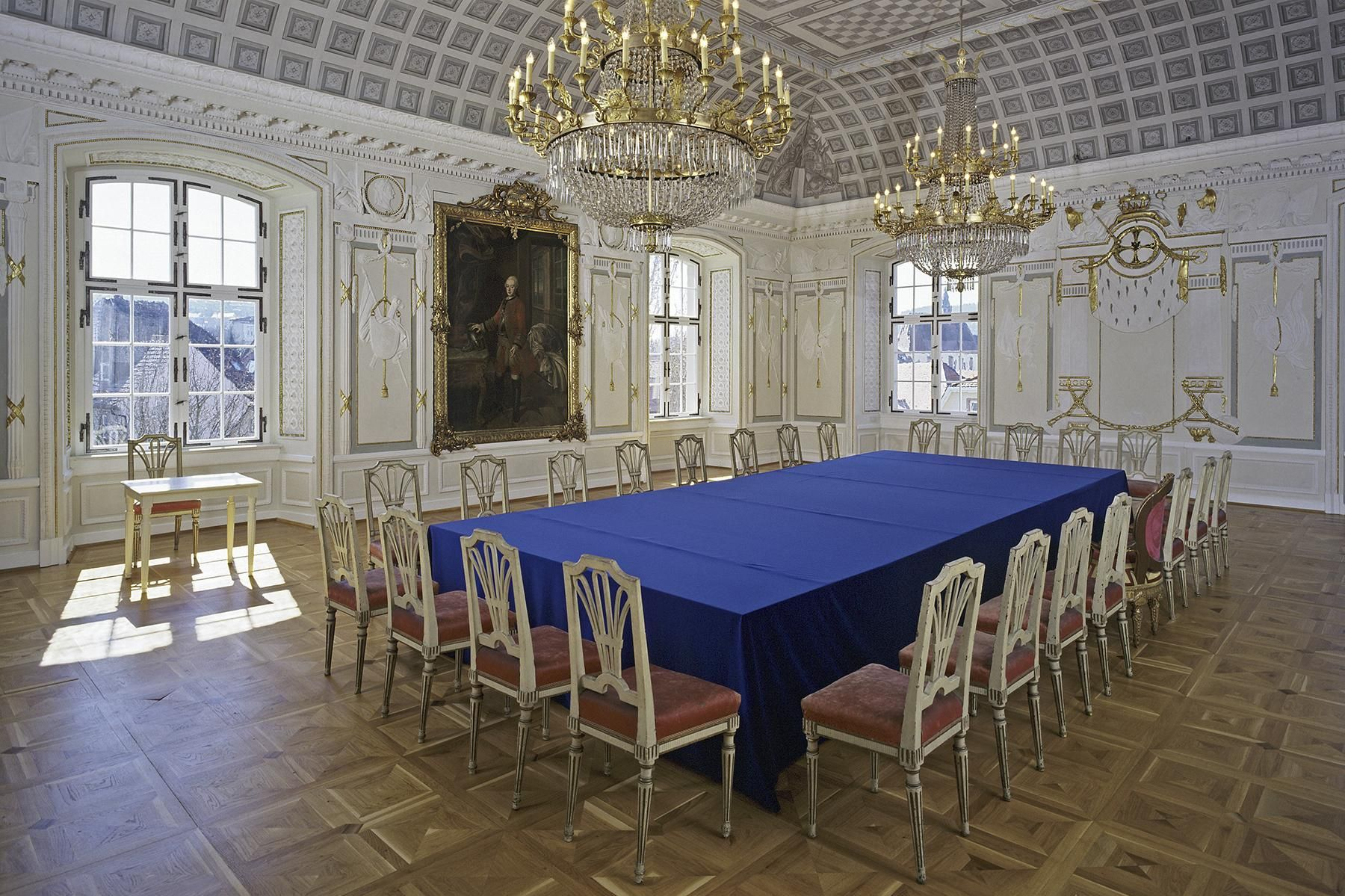 Residenzschloss Mergentheim, Kapitelsaal; Foto: Staatliche Schlösser und Gärten Baden-Württemberg, Steffen Hauswirth