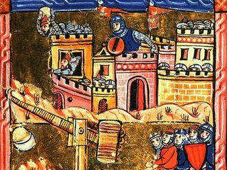 Die Belagerung Akkons (1189‒1191), Illustration aus einer Handschrift aus dem Jahr 1280
