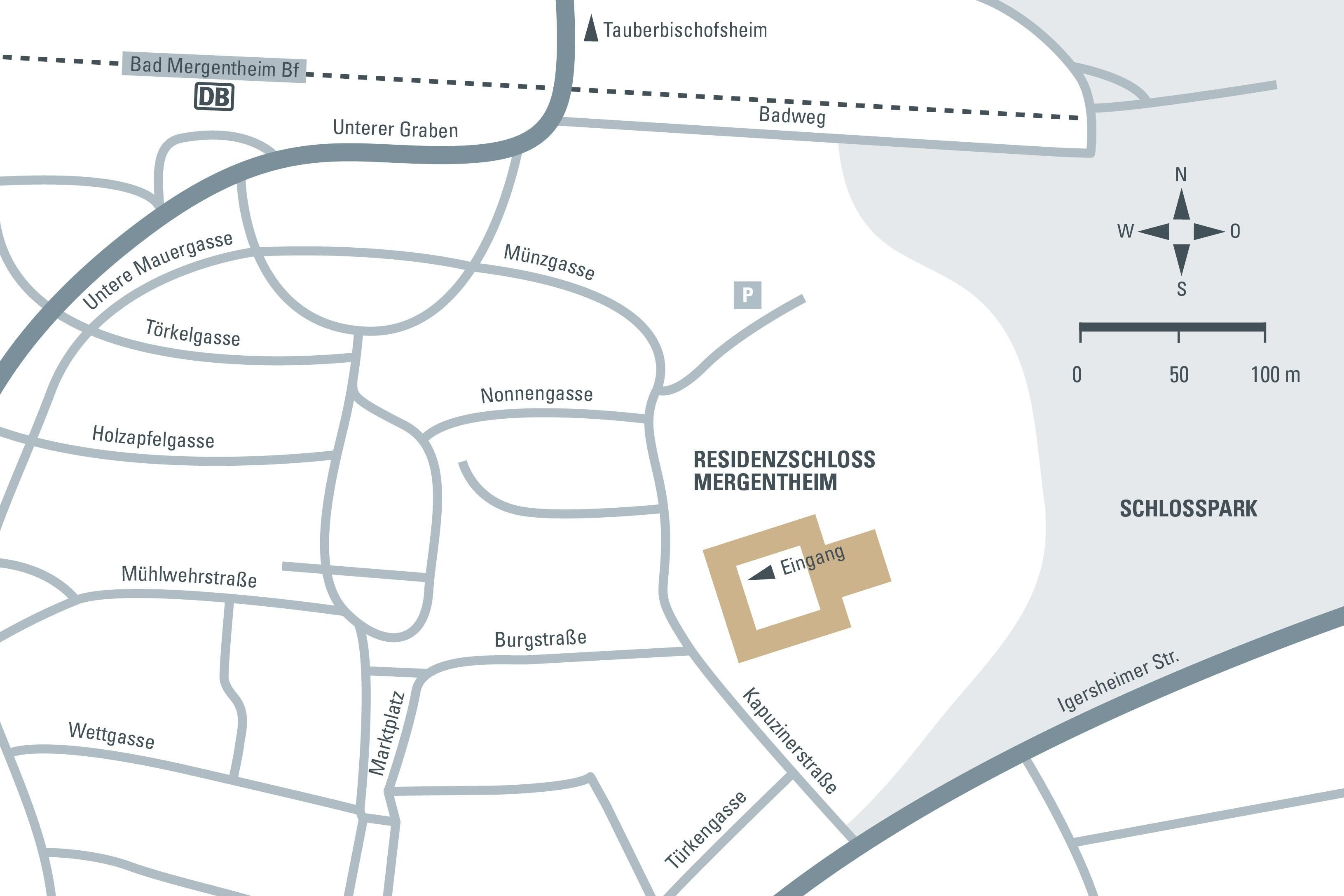 Anfahrtsskizze zum Residenzschloss Mergentheim