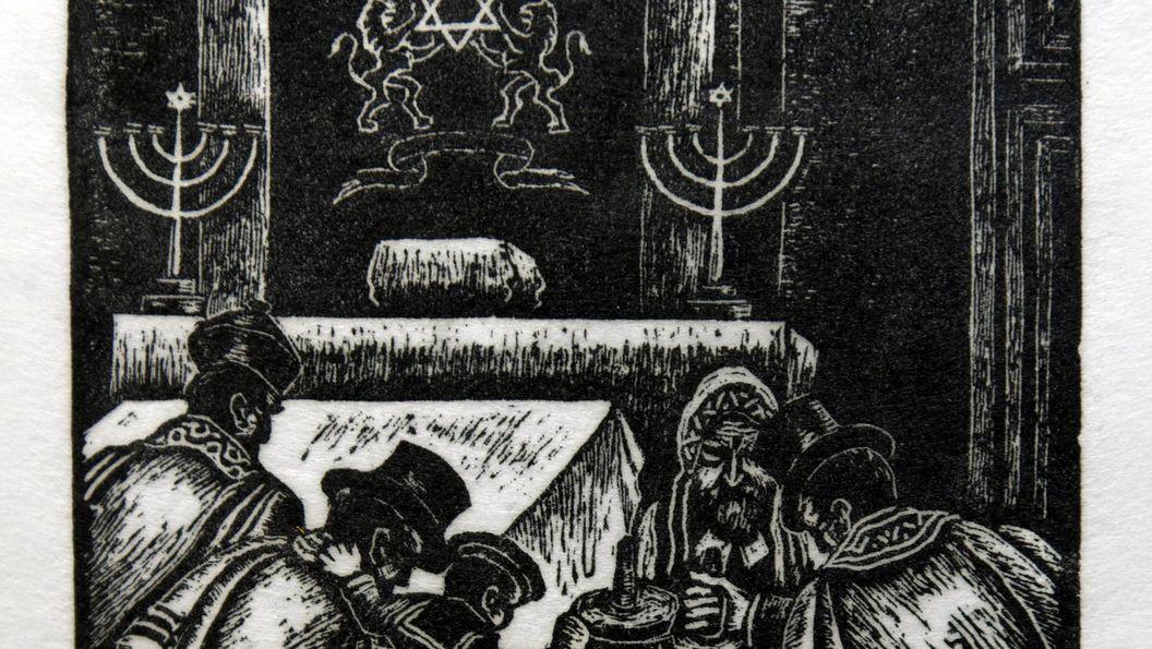 """Residenzschloss Mergenheim, """"In der Synagoge"""", Holzschnitt von Hermann Fechenbach"""