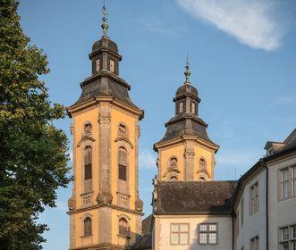 Residenzschloss Mergentheim, die barocken Kirchtürme der Schlosskirche