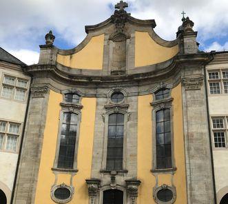 Residenzschloss Mergentheim, Fassade der Schlosskirche im Innenhof