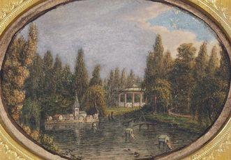 Residenzschloss Mergentheim, Historische Ansicht des Entendorfes im Schlosspark, 1820