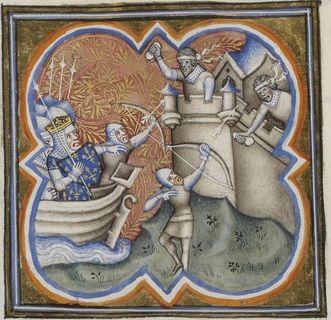 Belagerung der Stadt Akkon (1189 bis 1191), Miniatur aus dem 14. Jahrhundert